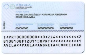 Citizen Card (Portugal) - Reverse of  a Cartão de Cidadão issued to a Portuguese citizen