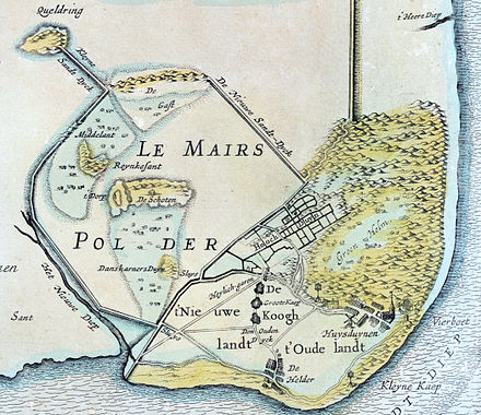 Le Mairs polder near Den Helder. Map from 1641 by Claes Jansz. Visscher. (view from the north) CJ Visser - Le Maires polder 1641.jpg