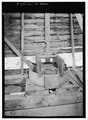 CLOSE-UP OF MILL-WHEEL WITHIN HOUSING - Alfred Raegan Tub Mill, Roaring Fork Trail, Gatlinburg, Sevier County, TN HABS TENN,78-GAT.V,4-6.tif