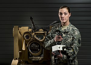 CROWS - Soldier posing with an M153