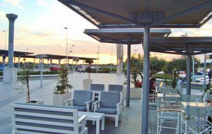 Cafeteria and bar outside Larnaca airport during afternoon.JPG