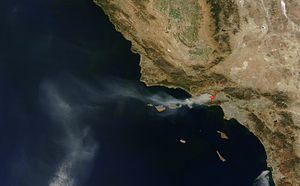 Topanga Fire - A NASA satellite image of the Topanga Fire as seen from space, on September 29, 2005.
