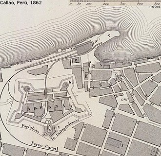 First Chilean Navy Squadron - The fortress of Callao protected the Spanish ships.