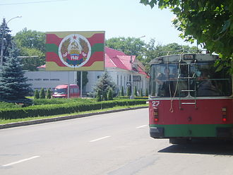 Tiraspol - A trolleybus in Tiraspol painted in the colors of the flag