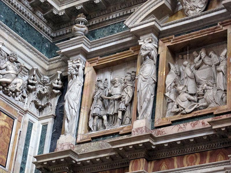 Cappella paolina o borghese, monum di paolo V del ponzio con cariatidi di pietro bernini 02.JPG