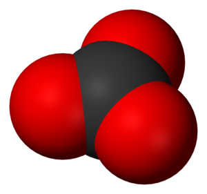 Carbonate - Space-filling model of the carbonate ion