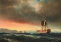 Carl Bille - Havareret linjeskib i solnedgangen.png