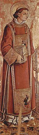 San Lorenzo, particolare del Polittico di Massa Fermana, dipinto da Carlo Crivelli