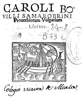 Charles de Bovelles - From his Proverbiorum vulgarium