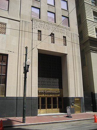 "National American Bank Building -  Entrance to ""200 Carondelet"" in 2009"
