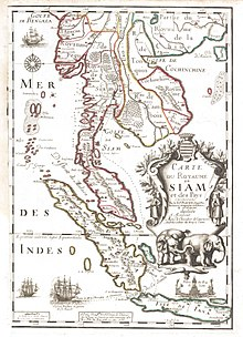 Carte du royaume de Siam faite en 1686.