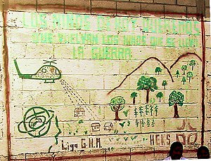 Playa Grande, Guatemala - Pacifist mural depicting the Victory of January 20 in Ixcán