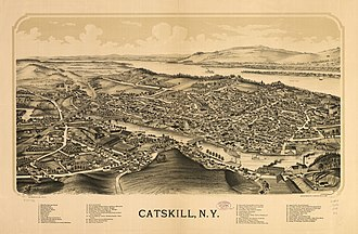 Catskill (town), New York - Perspective map of Catskill from 1889 by L.R. Burleigh with list of landmarks