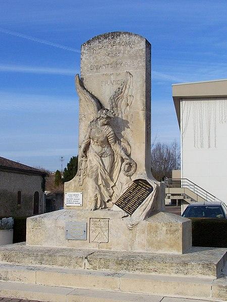 War memorial of Caudrot (Gironde, France)