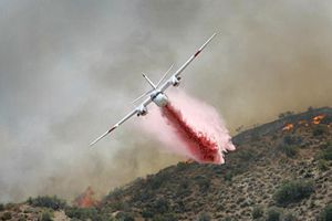 Sawtooth Complex Fire - CDF Grumman/Marsh S-2F3AT airtanker working the Sawtooth Complex fire. U.S. Forest Service photo.