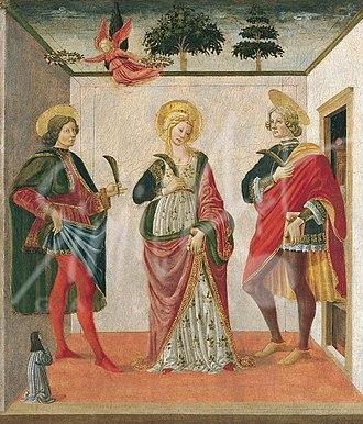 Saint Cecilia - Saints Cecilia, Valerian, and Tiburtius by Botticini