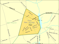 Census Bureau map of Elmer, New Jersey