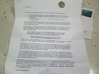 """Chain letter - Printed Australian chain letter from 2006, with a five-cent coin taped to it as what it calls a """"financial eye-catcher"""""""