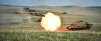 Challenger 2 - A row of Challenger II on a firing range at BATUS, Canada