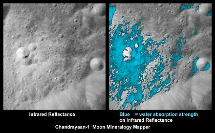 As viewed by Chandrayaan-1's NASA Moon Mineralogy Mapper equipment, on the right, the first time discovered water-rich minerals (light blue), shown around a small crater which it was ejected from. Chandrayaan1 Spacecraft Discovery Moon Water.jpg