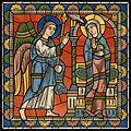 Chartres Kirchenfenster - Das Leben des Jesus Motiv 01 Die Verheißung der Geburt Jesu Lk. 1.26.jpg