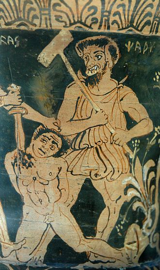Charun - The other side of the same artifact, depicting Ajax killing a Trojan prisoner in front of Charun.