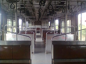 Chennai Suburban Railway - The inside of a Chennai Suburban Train.