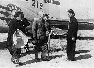 Mao suit - Image: Chiang Kai shek, Soong Mei ling and ROCAF C 47 in Taiwan 19461021