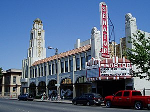 Chico, California - The Senator Theater, completed in 1928 for $300,000, was designed by Timothy L. Pflueger for Michael Naify and the Nasser Brothers.