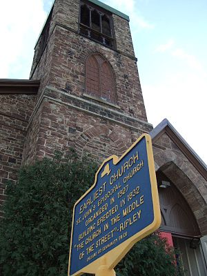 "Medina, New York - ""Church In The Middle of the Street"" made of Medina Sandstone"