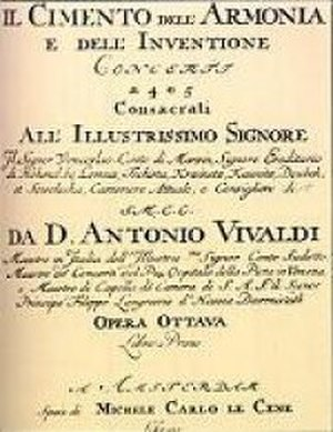 The Four Seasons (Vivaldi) - Title page of Vivaldi's Cimento dell'Armonia e dell'Invenzione, which included The Four Seasons