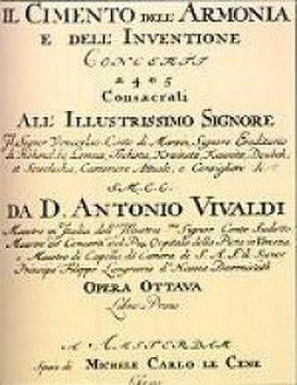 The Four Seasons (Vivaldi) - Title page of Vivaldi's Cimento dell'Armonia e dell'Invenzione, which included The Four Seasons