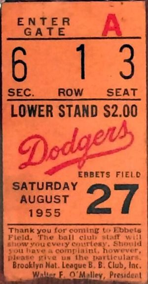 1955 Major League Baseball season - A ticket from the game where Sandy Koufax earned his first major league win on August 27, 1955.