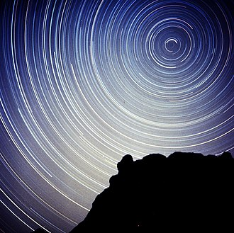 Circumpolar star - Circumpolar star trails in a long-exposure photo of several hours. Note that the stars near the celestial pole leave shorter trails with the long exposure.