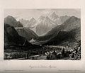 Cityscape mountain view of Bagnères de Luchon. Steel engravi Wellcome V0012198.jpg
