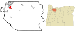 Clackamas County Oregon Incorporated and Unincorporated areas Oregon City Highlighted.svg