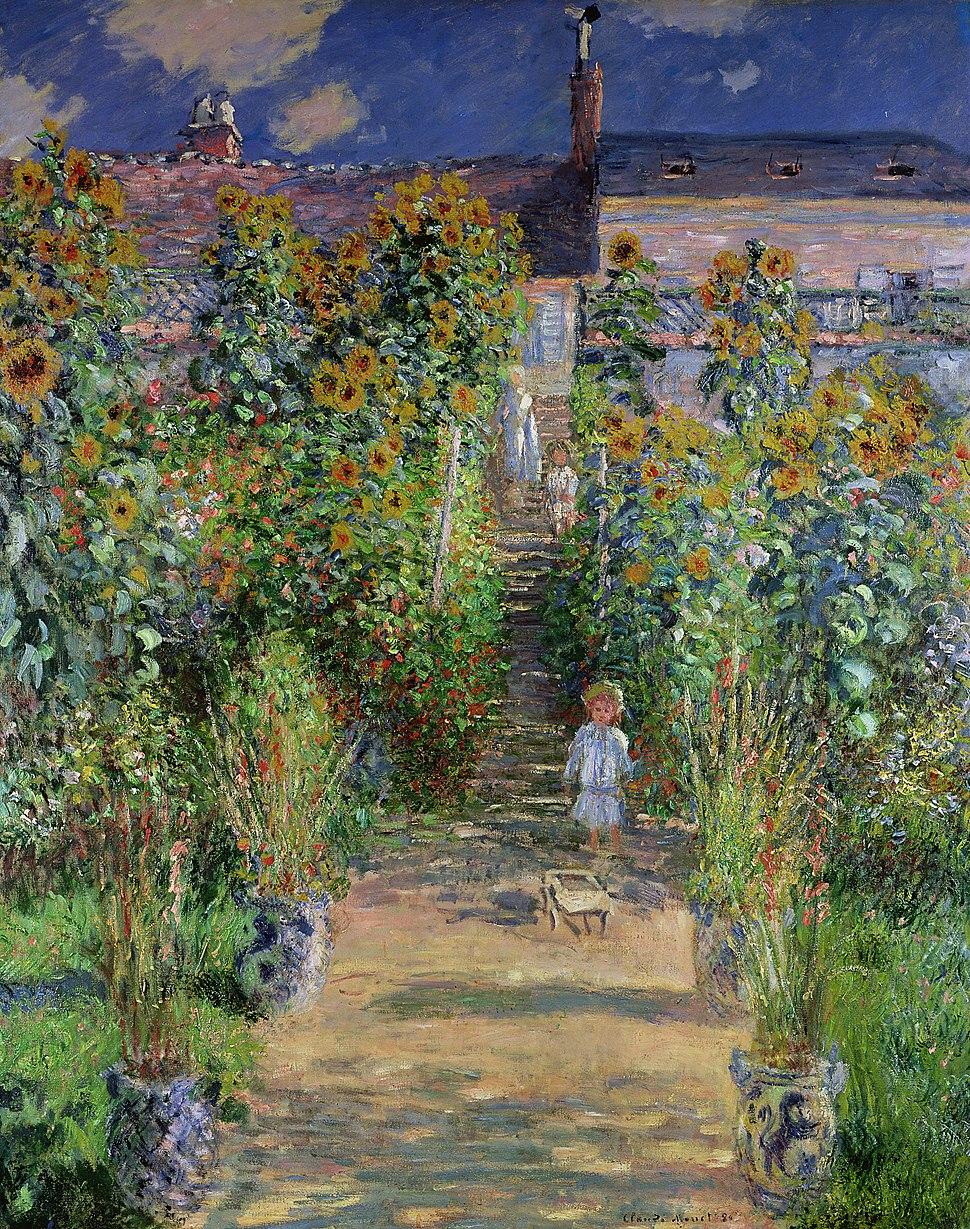 Claude Monet - Monet%27s garden at V%C3%A9theuil (1880)