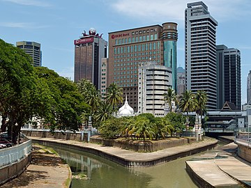 Jamek Mosque at the confluence of Gombak (left) and Klang (right) rivers. The earliest settlement of Kuala Lumpur developed on the eastern side of the river bank (to the right in this picture). Cmglee KL Masjid Jamek confluence.jpg