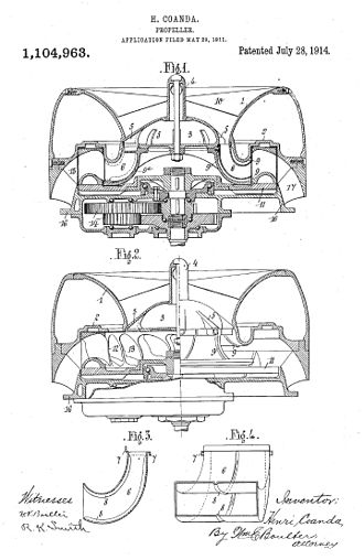 "Coandă-1910 - Coandă's US patent diagram for ""Improvement in Propellers"", filed 1911 and granted 1914"