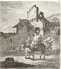 Ruined Castle with a Man on a Donkey before a Gate