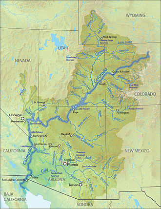 Lee's Ferry - Map showing the Colorado River basin and some of its major reservoirs; Lees Ferry (slightly left of center) is located directly below Page, Arizona and Lake Powell.