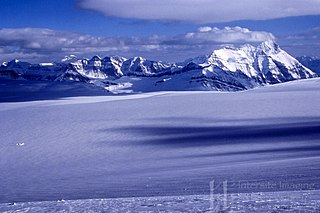 Columbia Icefield icefield located in the Park Ranges of the Canadian Rockies in Alberta and British Columbia