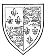 Fig. 723.—Humphrey of Lancaster, Duke of Gloucester, fourth son of Henry IV.: France (modern) and England quarterly, a bordure argent. (From his seal.)