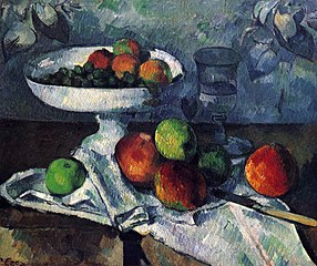 Fruit bowl, Glass and Apples
