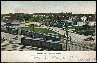 West Concord station - An early-20th-century postcard of Concord Junction