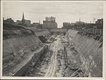 Construction of train tunnel, Hyde Park, 1923 (8282687587).jpg