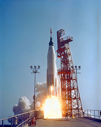 Mercury-Atlas 9 lifts off from Cape Canaveral Air Force Station Launch Complex 14 Cooper - GPN-2000-000997.jpg