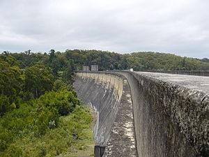 Cordeaux Dam - The curved arch dam wall