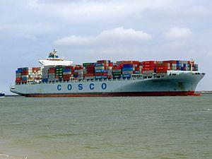 Cosco Long Beach p2 approaching Port of Rotterdam, Holland 14-Jul-2007.jpg
