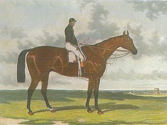 Cotherstone (horse) -  Cotherstone with jockey, in the black jacket of John Bowes